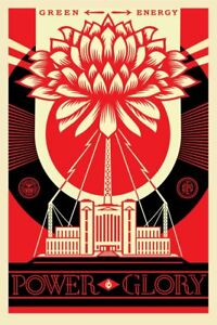 SIGNED-Shepard-Fairey-GREEN-POWER-GLORY-Print-Poster-Obey-Giant-24x36