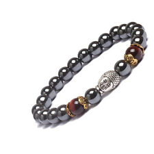 "Men's  Hematite Red Tiger's Eye Bead Buddha Energy Bracelet 7.5"""