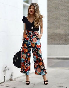 ZARA-FLORAL-PRINTED-CROPPED-WIDE-LEG-TROUSERS-CULOTTES-PANTS-WITH-BELT-M-XL