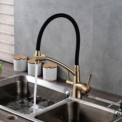 eBay & Gold + Black Brass Kitchen Pure Faucet Dual Handles Deck Mounted Sink Mixer Tap | eBay