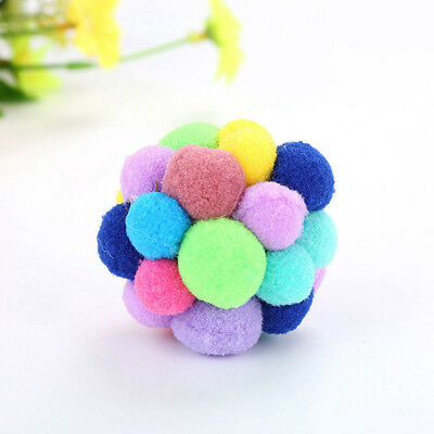 Pet Cat Toy Colorful Handmade Bells Bouncy Ball Built-In Catnip Interactive Toy