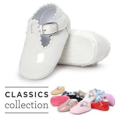 Newborn Infant Baby Girl Spanish Style Patent Pram Shoes Mary Jane Bowknot Shoes