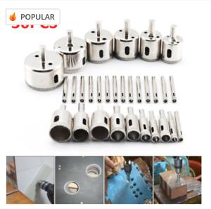 Hole Saw Drill Bit Tool Set For Tile Ceramic Glass 6-50mm, 30pcs Diamond Cutter