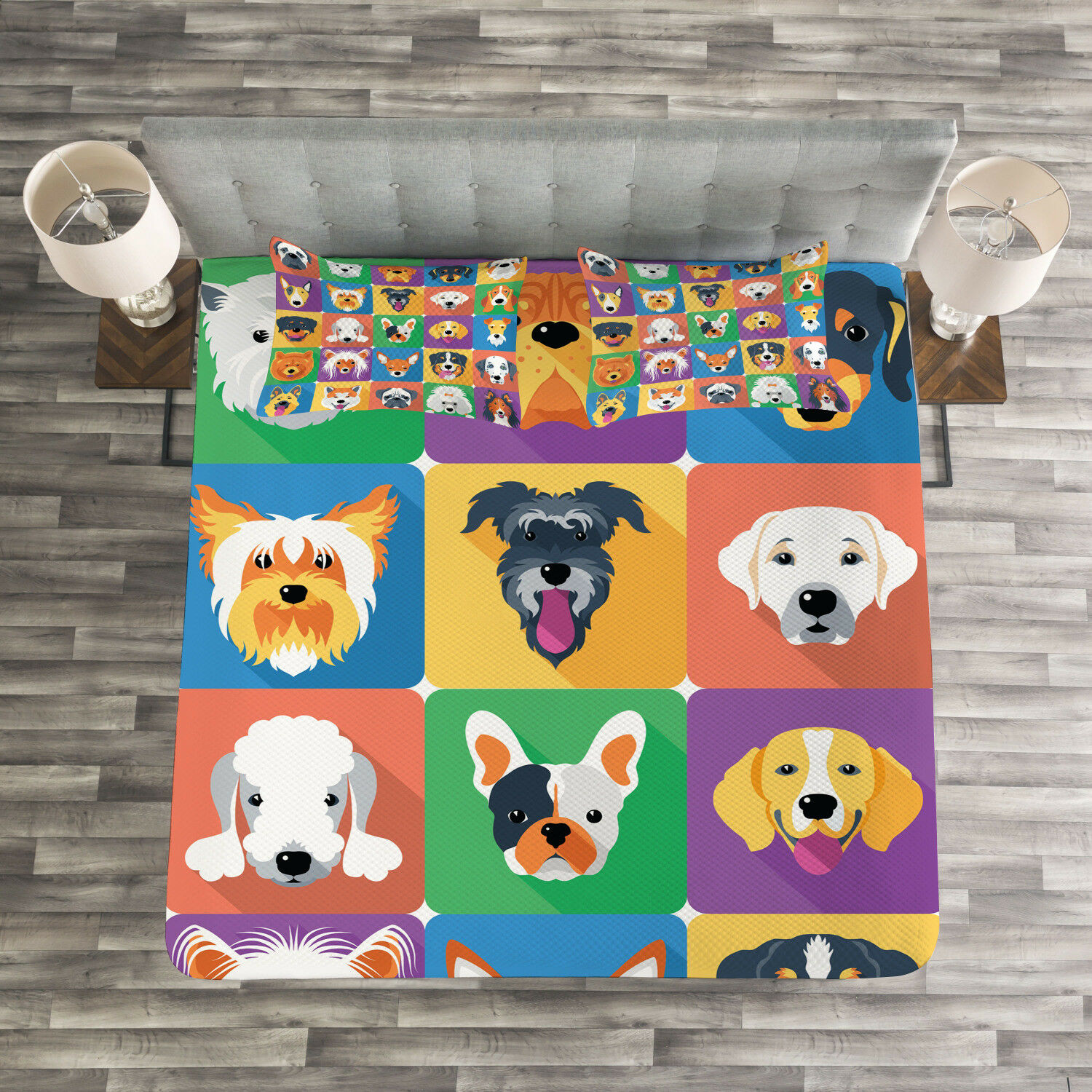 Dog Quilted Bedspread & Pillow Shams Set, Terrier Labrador Breed Pets Print