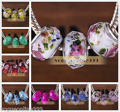 Hot 10pcs Loose Faceted Flower Design Murano Glass Bracelet Charm Big Hole Beads