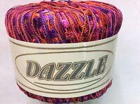 Kfi Dazzle Ladder Yarn 112 Pink Purple Red Orange Trellis Ribbon Yarn 25g 82yd