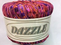 Kfi Dazzle Ladder Yarn 112 Pink Purple Red Orange Trellis Ribbon Yarn 25g 82yd