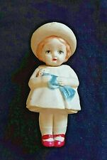 Vintage Celluloid Rattle / Rattler Doll Toy - Girl w/ Dolly (Japan, Ando Togoro)