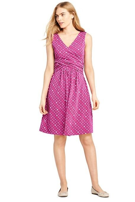 Lands End Women's Sleeveless Fit and Flare Dress Wild Magenta Dots New