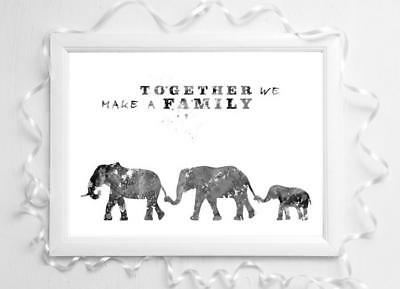Bear family black and white picture a4 glossy Print poster  gift UNFRAMED