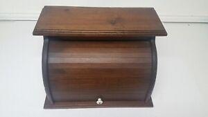 Vintage-Roll-Top-Door-Wood-Bread-Box-Wooden-Rustic-18-X12-X11-Pre-1970