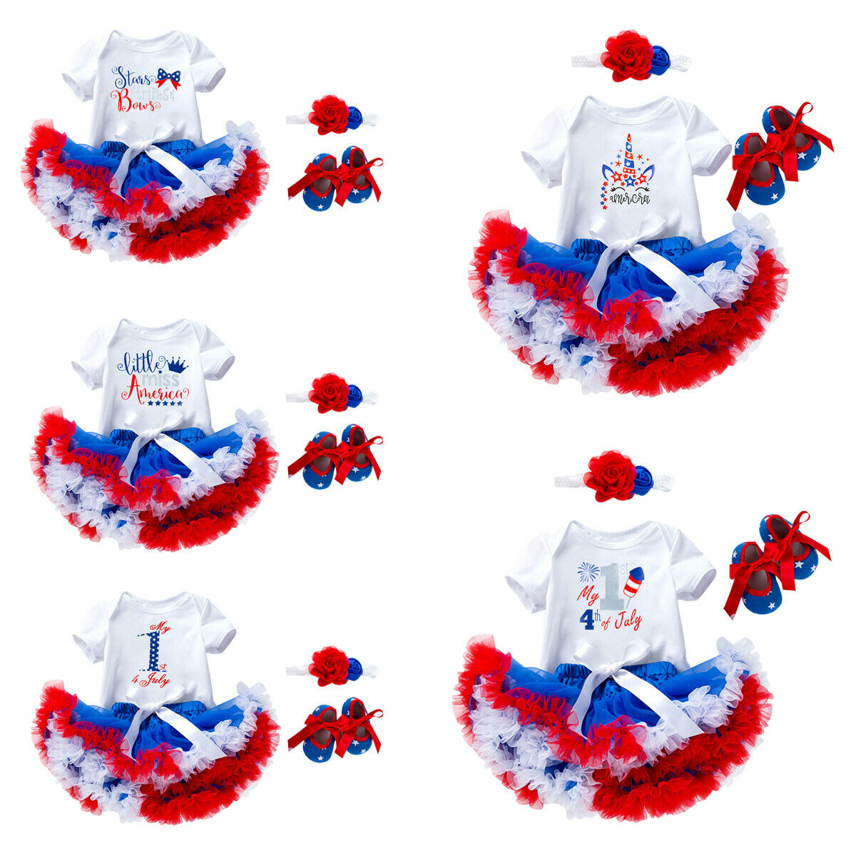 Unicorn Fancy My First 4th of July Romper Tutu Skirt Clothes Set for Baby Girls