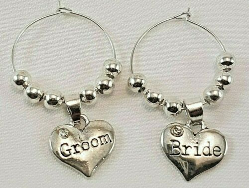 Personalised Wine Glass Charms Favours Wedding Party Table Decorations Silver
