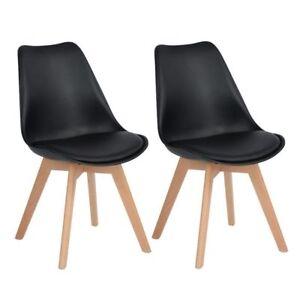 2er Stuhl Esszimmerstuhl aus Holz Beine Retro Kunstleder Wohnzimmer ...