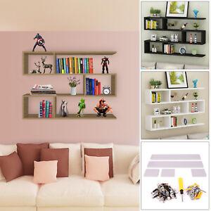 100cm-White-Black-Wood-Wall-Mounted-Storage-Shelf-shelves-bookcase-display-unit