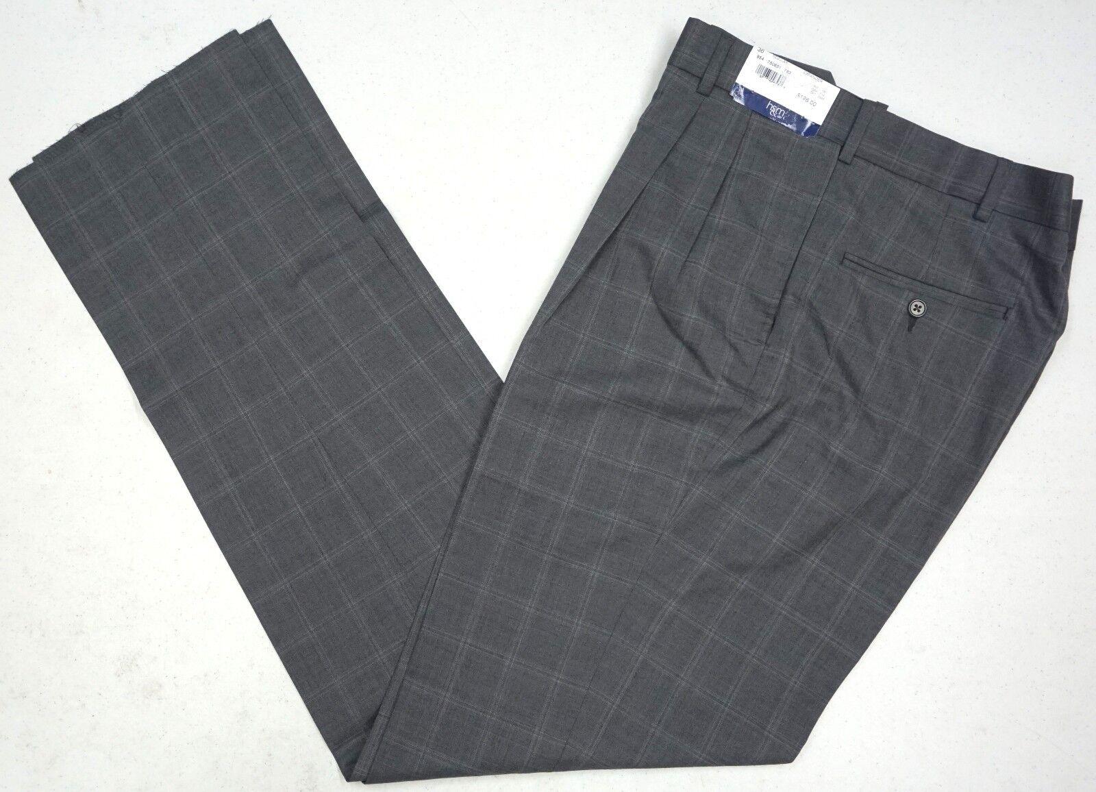 NWT  HART SCHAFFNER MARX EXPANDER GREY DRESS PANTS PLEAT MENS 32R 35R NEW