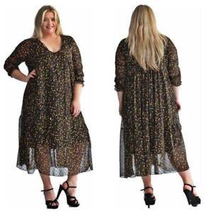 Sale-Damen-Kleid-Maxikleid-Chiffonkleid-von-Zeffa-warme-Farben-NEU