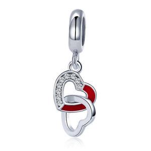 Fashion-Love-Hearts-Combined-925-Silver-Charm-Beads-Dangel-Pendant-Fits-Bracelet
