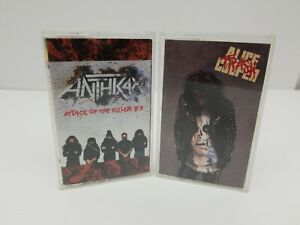 Rock-Cassette-Tapes-Lot-of-2-Anthrax-Attack-Of-Killer-B-039-s-amp-Alice-Cooper-Trash