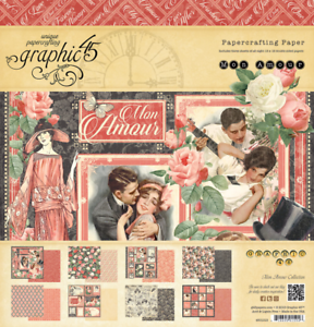 Graphic 45  2 sheets Mon amour Collection one and only double side