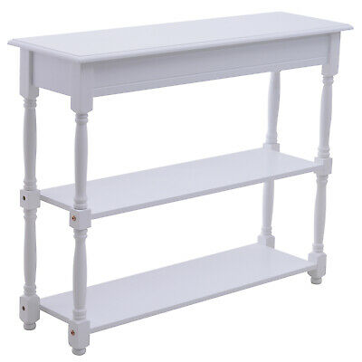 Wood Entryway Console Table w/ 2-tier Shelves Hallway Home Furniture White