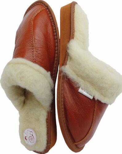 Echt LEDER+ Schurwolle Gr.38 WARME Hausschuhe -Pantolette Made in Poland.39