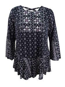 Style-amp-Co-Women-039-s-Plus-Size-Mixed-Print-Flounce-Hem-Top