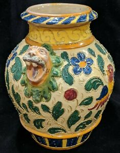 Art Pottery Italian Sgraffito Pottery Vase Incised Birds Flowers Gargoyles