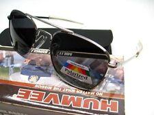 HUMVEE Polished Silver Frame MILITARY PILOT Black 52mm POLARIZED Lens Sunglasses