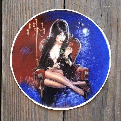 Original Sexy ELVIRA MISTRESS OF THE DARK Halloween Witch Round Decal 1988 NOS