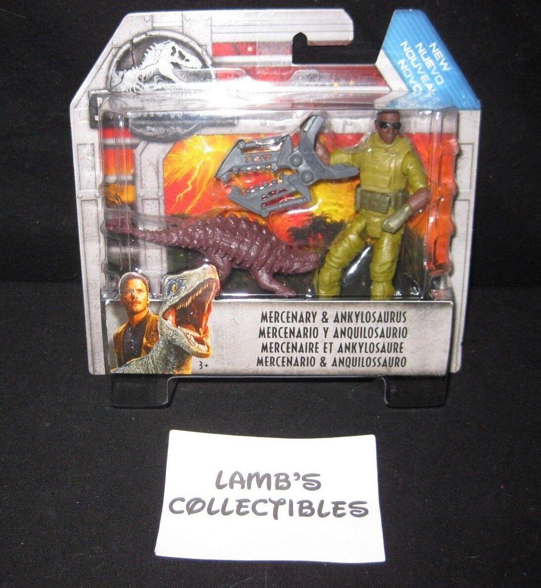 Jurassic World Mercenary  & Ankylosaurus azione cifra giocattoli Mattel  molte sorprese