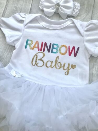 Newborn Multi Rainbow Gold Glitter Baby Small Heart RAINBOW BABY TUTU ROMPER