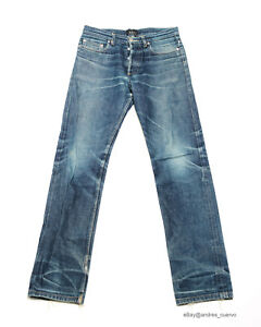 Butler APC Holly Grail Jeans Fades Faded Distressed Selvedge Dry Denim Size 28
