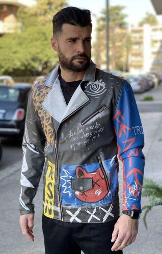 SPECIAL PRICE Giubbotto Uomo Ecopelle Stampa Grafica  giubbino Reason Clothing