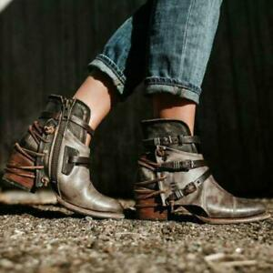 Womens-Cowboy-Roman-Ankle-Boots-Shoes-PU-Leather-Buckle-Western-Combat-Boots-Sz