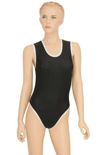 Damen Body Leotard Black/&White ohne Ärmel Schwarz-Weiß stretch shiny S bis L