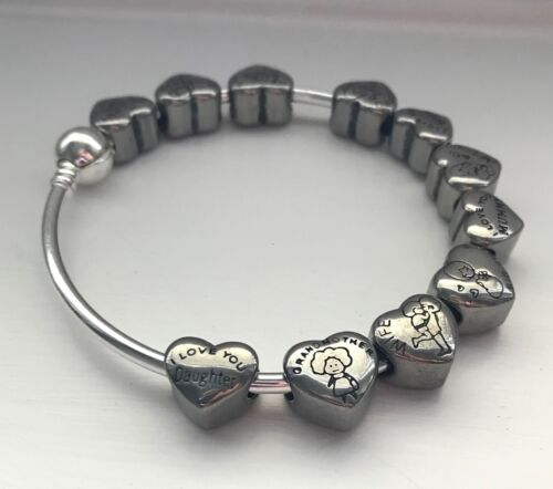 Silver Tone MIDDLE SISTER Family Heart European Charm With Pink Gift Pouch