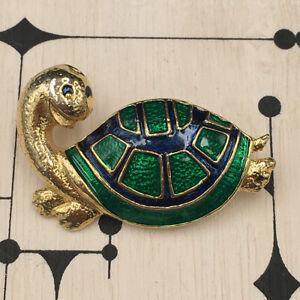 Broche-Vintage-Tortue-Metal-Dore-amp-Email-Vintage-Enamel-Brooch-Tortoise