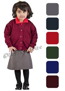 Girls School Cardigan Fleece Sweatshirt Uniform Age 2 3 4 5 6 7 8 9 10 11 12 13