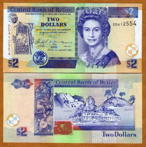 Belize 2 Dollars QEII 2005 UNC P-66b