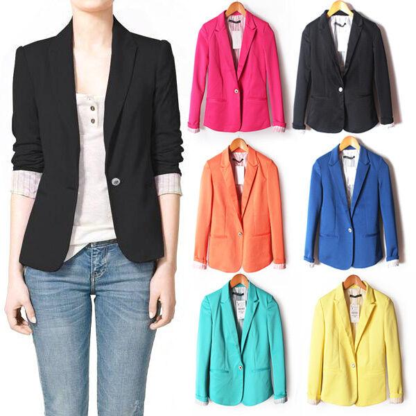 Celebrity Boyfriend Women's Slim Candy Color Slim Casual Suit Blazer Jacket XS-L