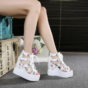 Womens-Hollow-Out-High-Open-Toe-Platform-Wedge-Heel-Lace-up-Roman-Sandals-Shoes
