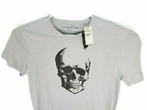 NEW-John-Varvatos-Mens-Star-USA-Short-Sleeve-Skull-Graphic-Crew-T-Shirt-Grey