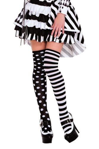 UK Seller Black /& White Stripe Spotty Odd Overknee Stockings Thigh Highs Socks