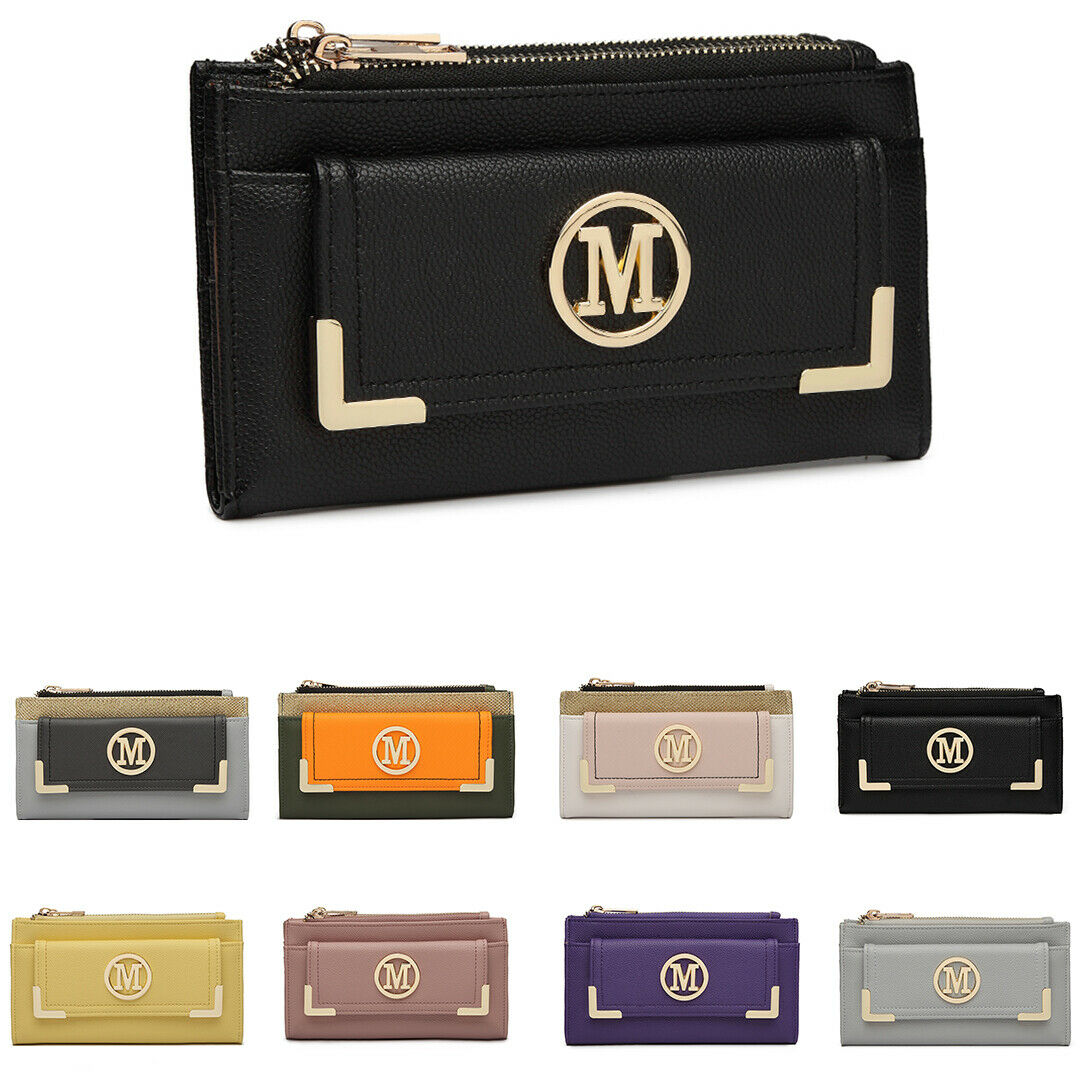 Ladies Girls Faux Leather Folded Purse Wallet Holder Credit Card Clutch Bag