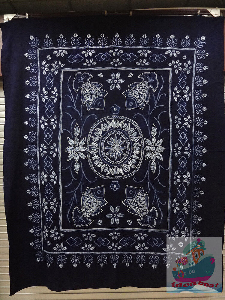 Hand indigo Tie Dye Rural Style Tablecloth Table Cover Sheet Tapestry 240x200cm