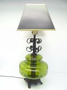 Image Is Loading Vintage Green Gl Globe Black Table Lamp Decorative