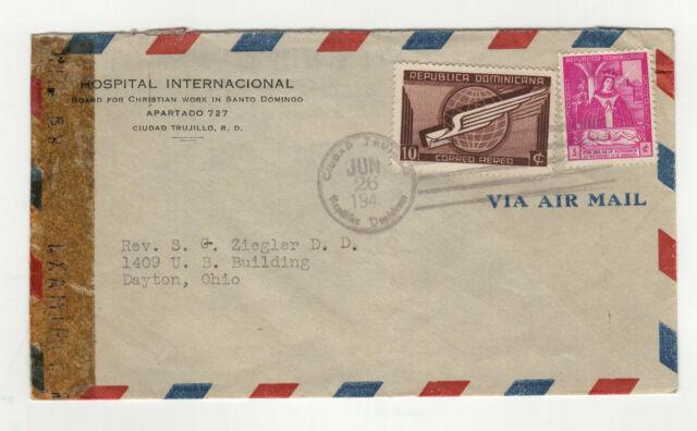Républica Dominicana République Dominicaine timbres sur lettre années 40 / B5A2