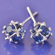 Blue Topaz 9K White Gold Filled Megic Ball Womens Stud earing Free Shipping