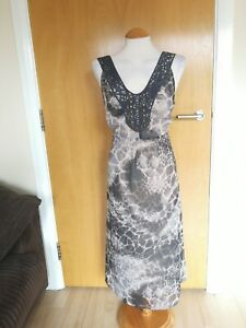 Ladies-PER-UNA-Dress-Size-18-Grey-Long-Chiffon-Party-Evening-Wedding-Races